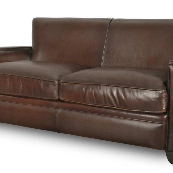 Belle Epoque, canapé 3 places, cuir chocolat, face
