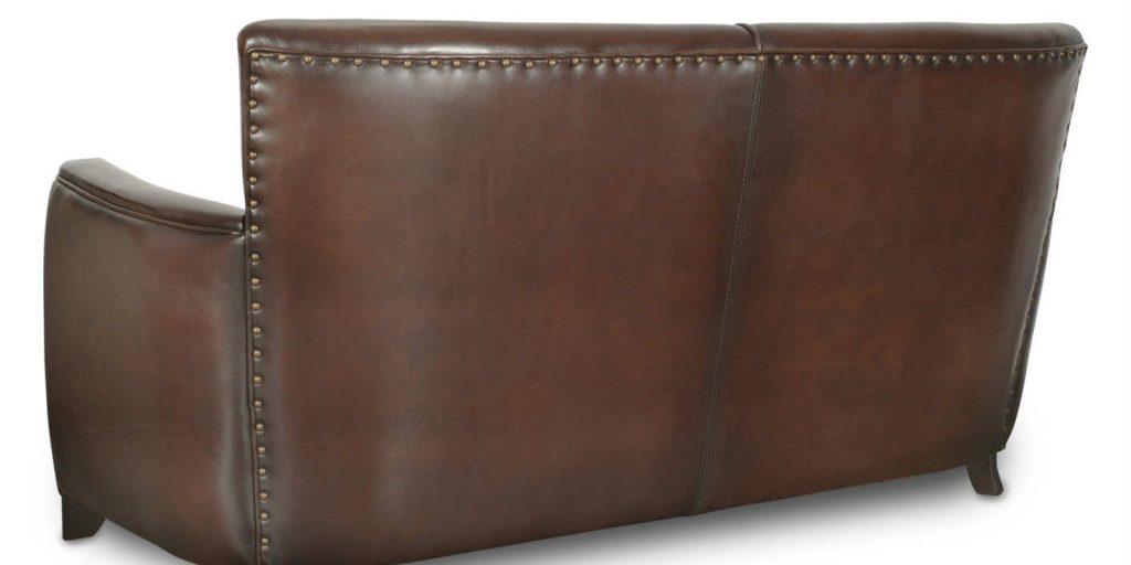 Belle Epoque, canapé 3 places, cuir chocolat, arrière