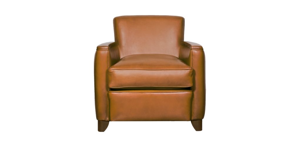 Belle époque, fauteuil, cuir havane, 3/4 face