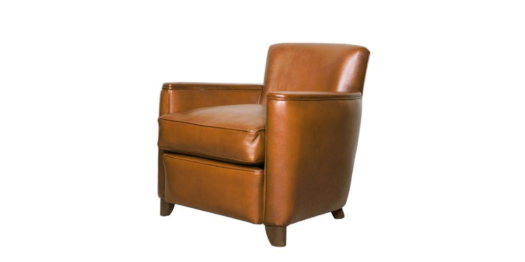 Belle époque, fauteuil, cuir havane, face