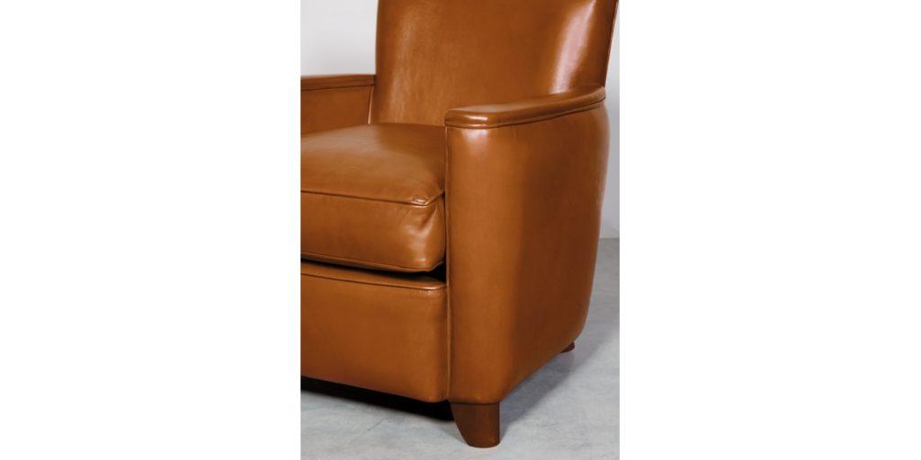 Belle époque, fauteuil, cuir havane, accoudoir
