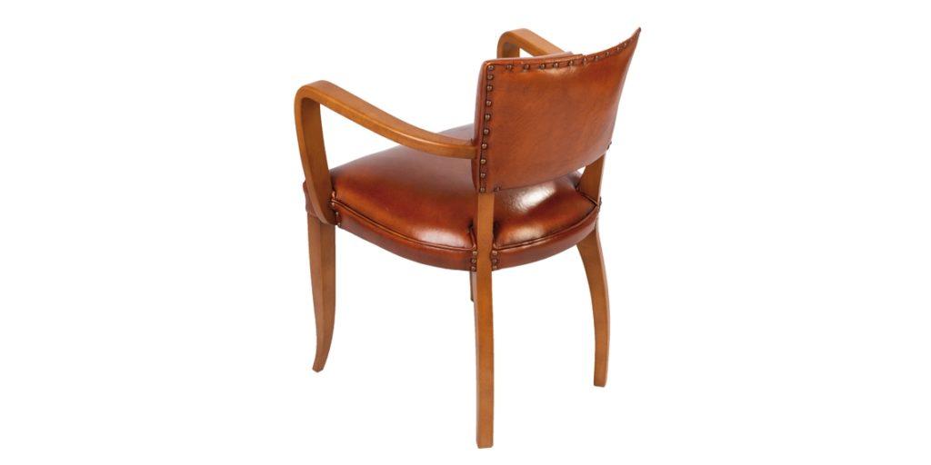 Bridge, chaise, cuir rustique, arrière
