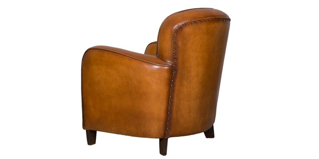 Bridge, fauteuil, cuir rustique, arrière