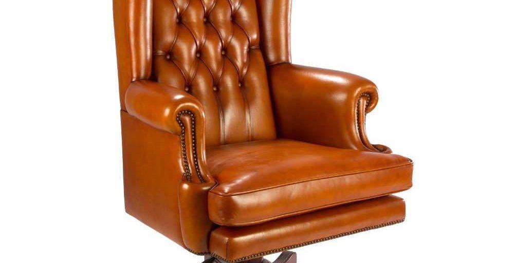 Buckingham, fauteuil, cuir havane, 3/4 face