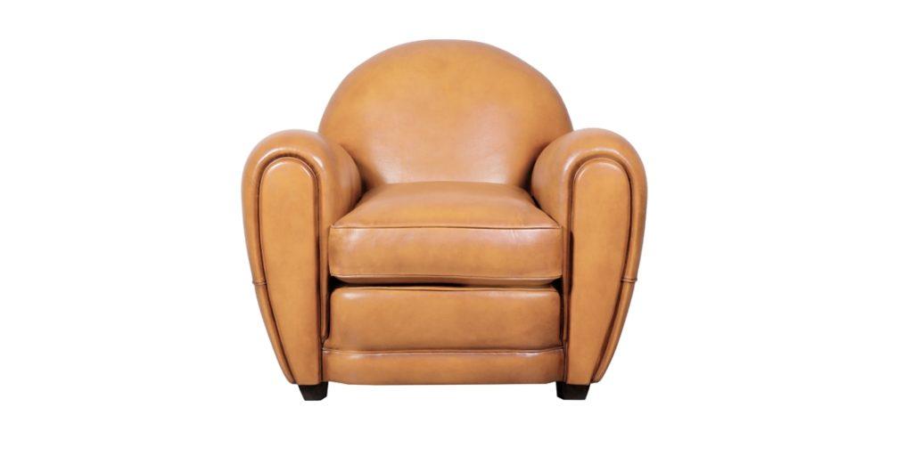 Cabaret, fauteuil, cuir gold, face