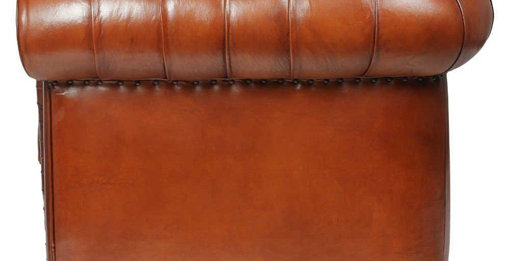 Churchill, canapé 2 places, cuir havane, côté
