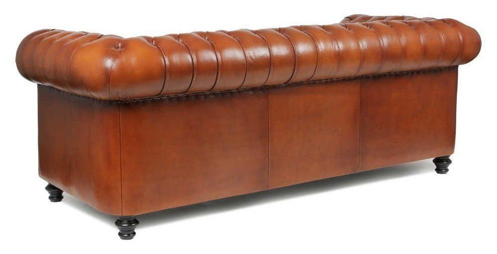Churchill, canapé 3 places, cuir havane, côté