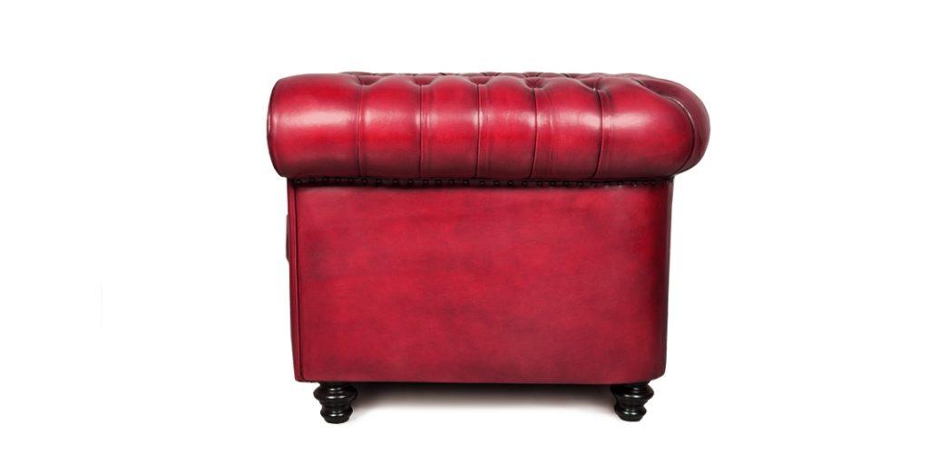 Churchill, fauteuil, cuir rouge, côté