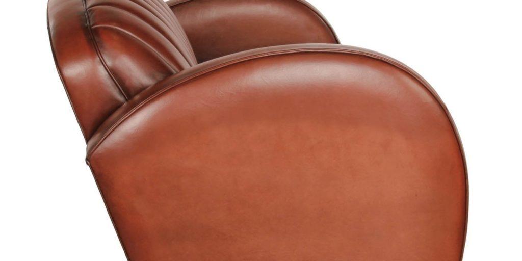 Corvette, canapé 2 places, cuir havane, côté
