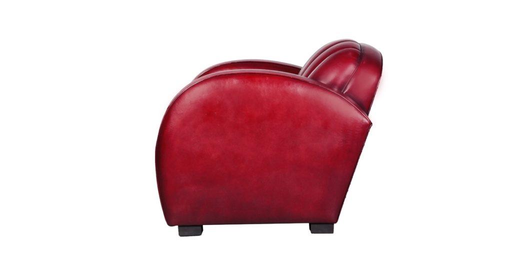Corvette, fauteuil club, cuir rouge, côté