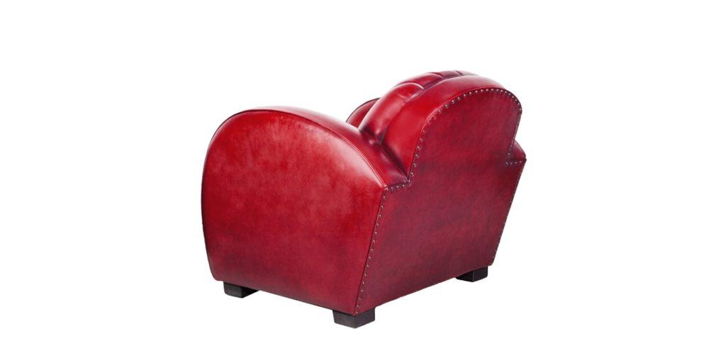 Corvette, fauteuil club, cuir rouge, dos