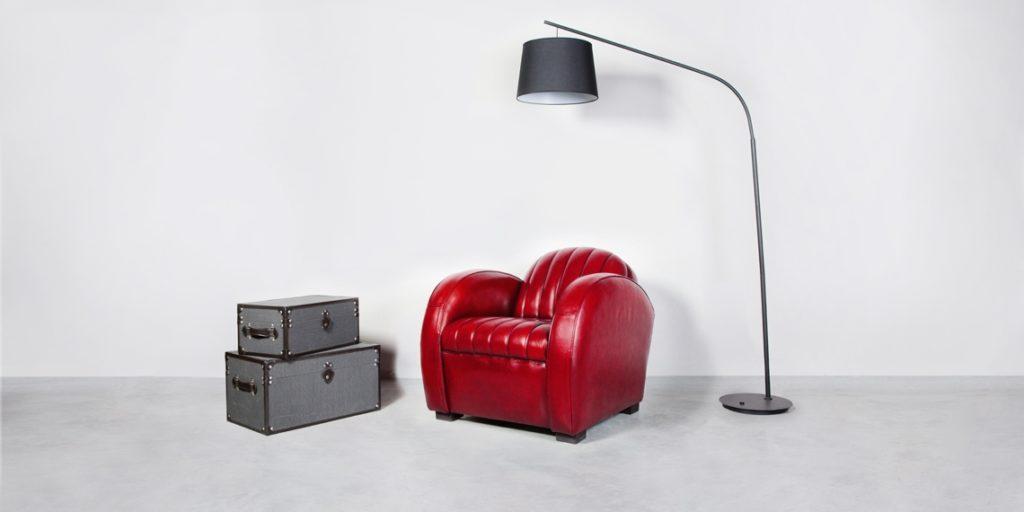 Corvette, fauteuil club, cuir rouge, déco