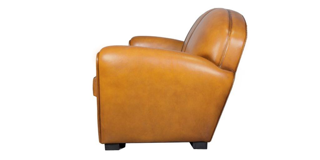Epicure, canapé 3 places, cuir miel, côté