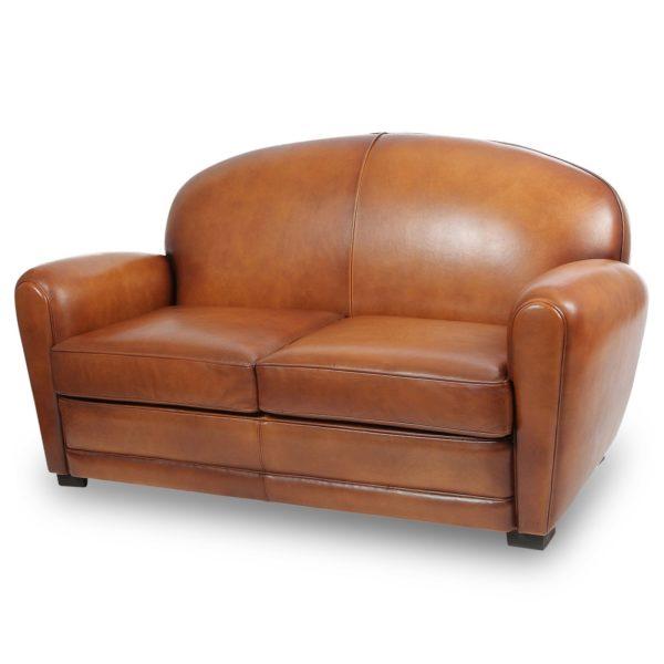 Epicure, canapé convertible 2 places, cuir rustique, face