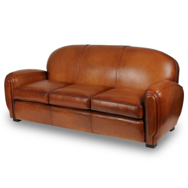 Gentleman, canapé 3 places convertible, cuir rustique, face