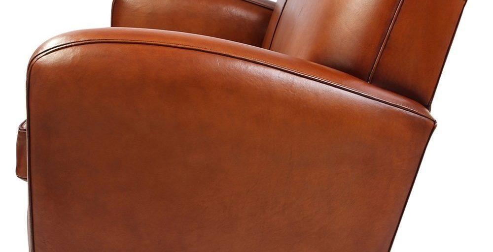 Grand carré, canapé 2 places, cuir havane, côté
