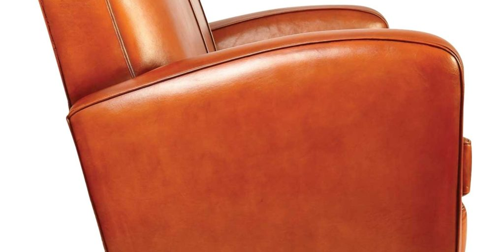 Grand carré, canapé club 3 places, cuir rustique, côté