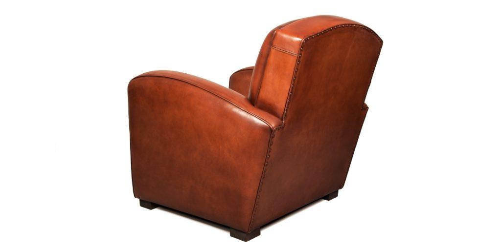 Grand carré, fauteuil club, cuir cognac, arrière