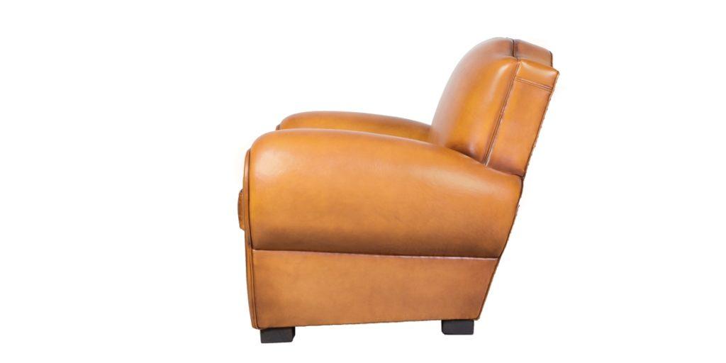 Grand Moustache, fauteuil, cuir miel, côté