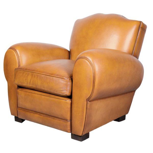 Grand Moustache, fauteuil, cuir miel, face