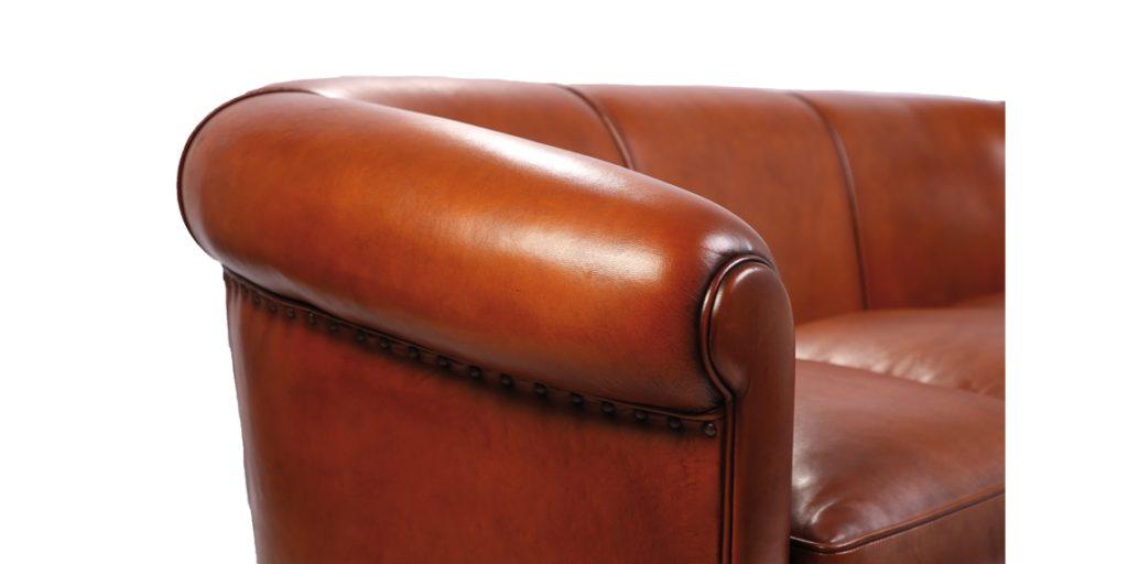 Harrys 1950, canapé 3 places, cuir rustique, accoudoir