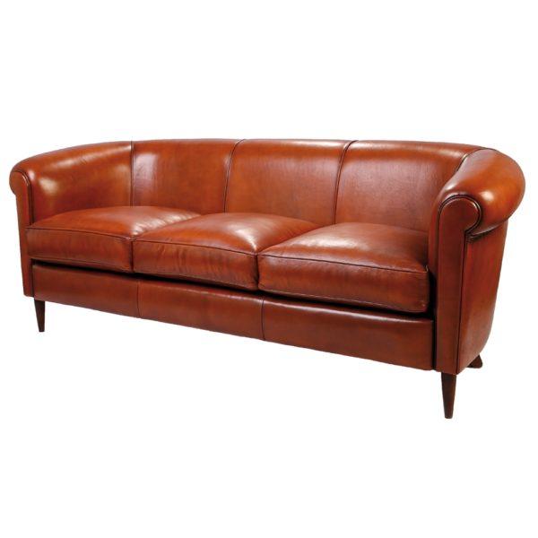 Harrys 1950, canapé 3 places, cuir rustique, face