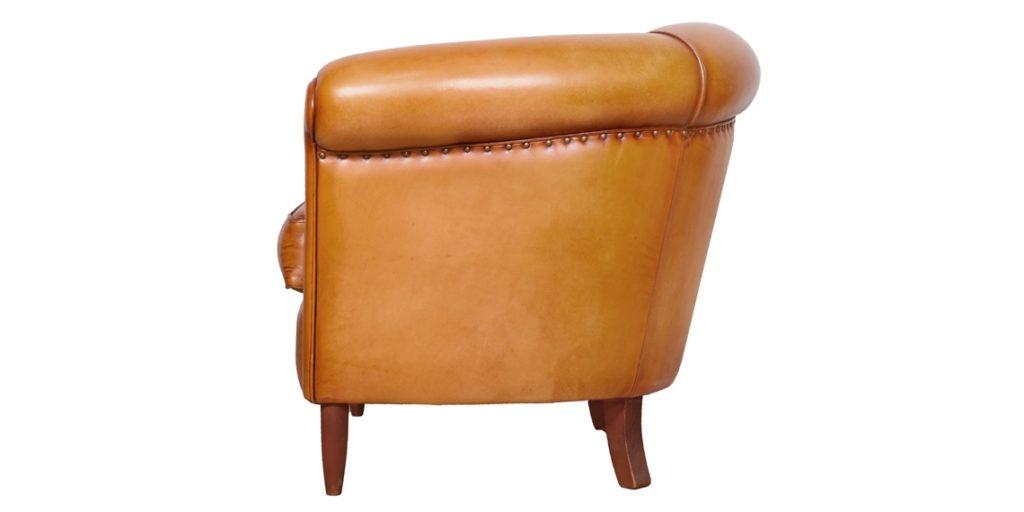 harry's 1950, fauteuil club, cuir miel, côté