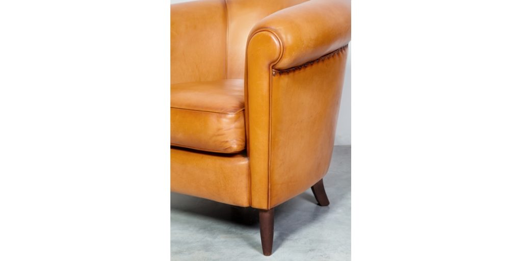 harry's 1950, fauteuil club, cuir miel, accoudoir
