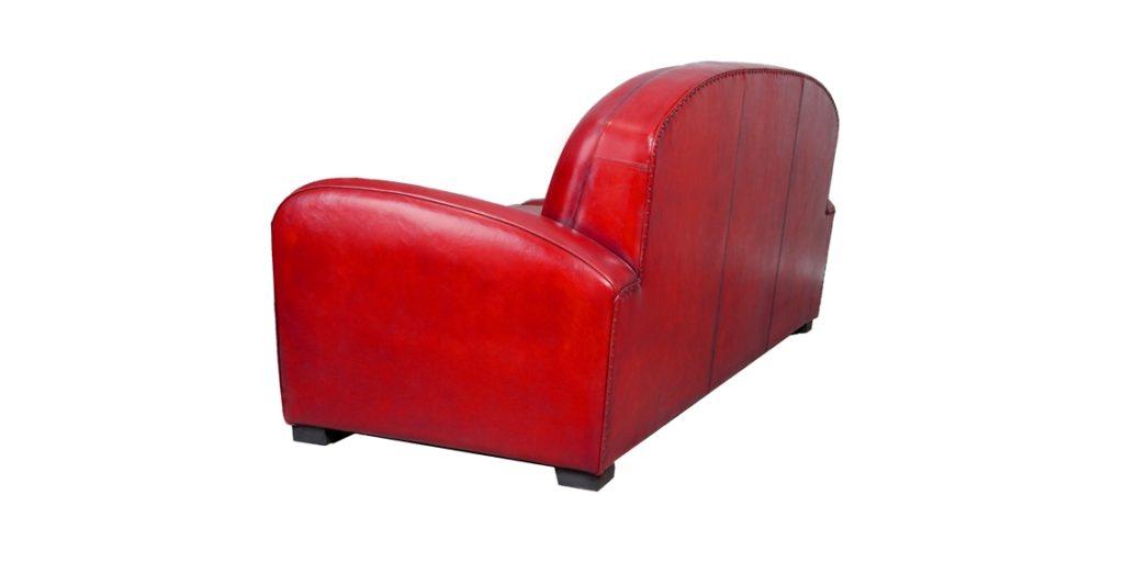 Hemingway, canapé 3 places, cuir rouge, arrière