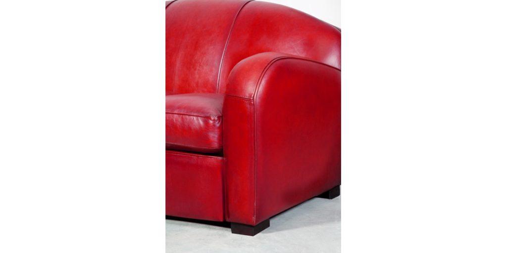 Hemingway, canapé 3 places, cuir rouge, accoudoir