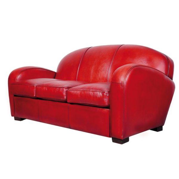 Hemingway, canapé 3 places convertible, cuir rouge, face