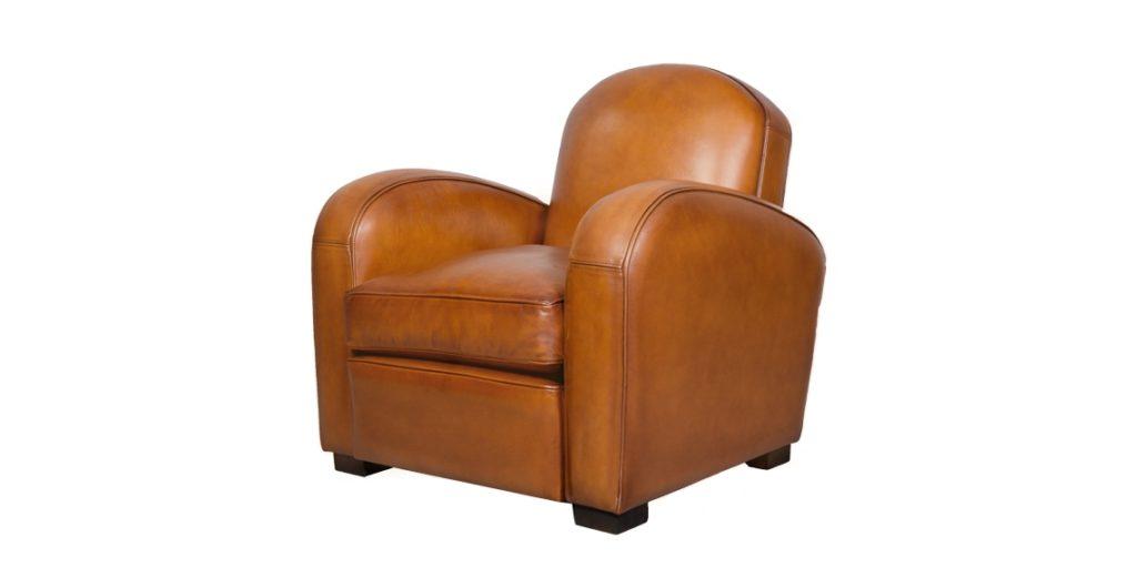 Hemingway, fauteuil, cuir rustique, face