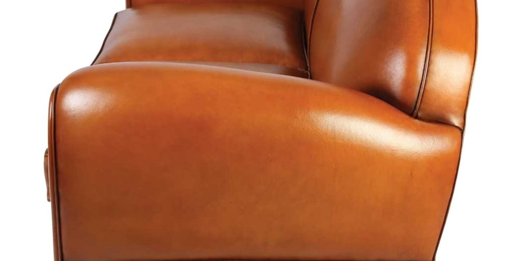 Jules, canapé 2 places, cuir havane, côté