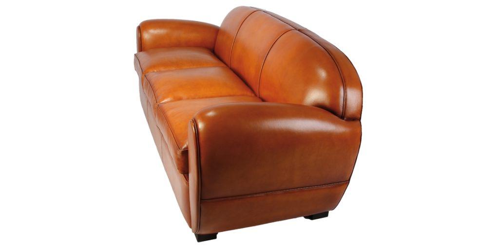 Jules, canapé club 3 places, cuir rustique, côté