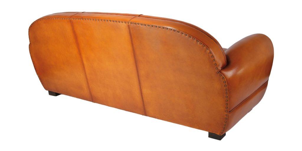 Jules, canapé club convertible, cuir rustique, dos