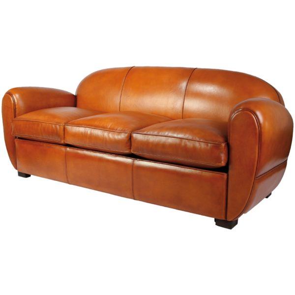 Jules, canapé club convertible, cuir rustique, face