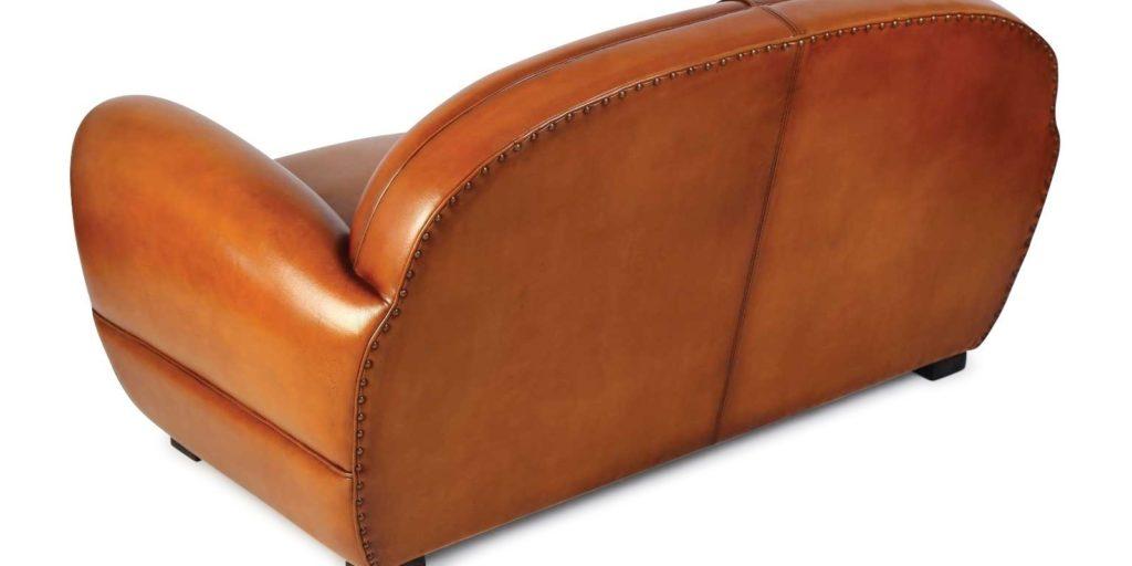 Jules, canapé convertible 2 places, cuir havane, arrière