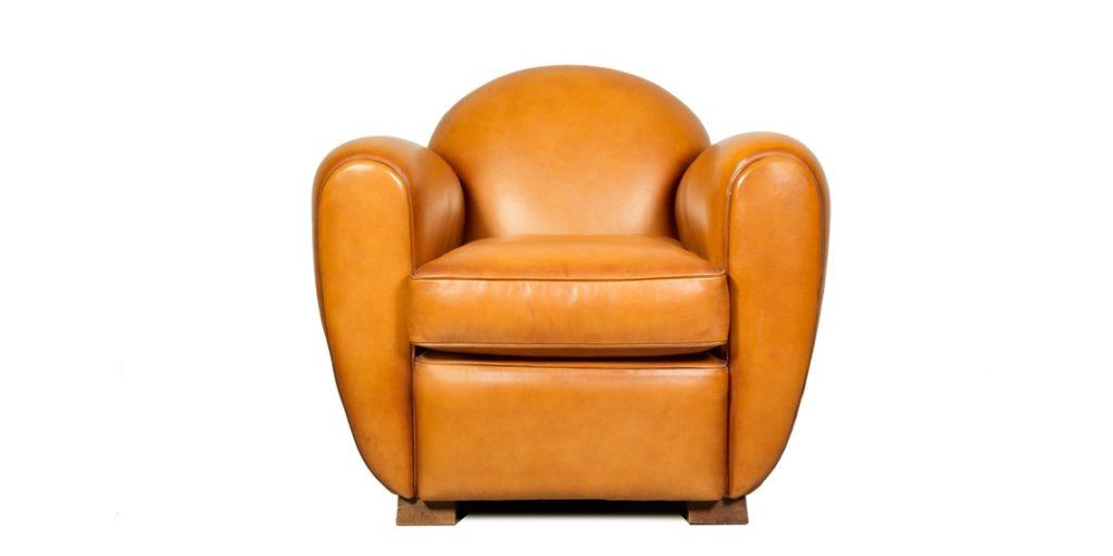 Jules, fauteuil club, cuir miel, face