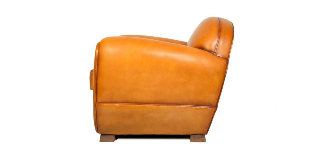 Jules, fauteuil club, cuir miel, côté