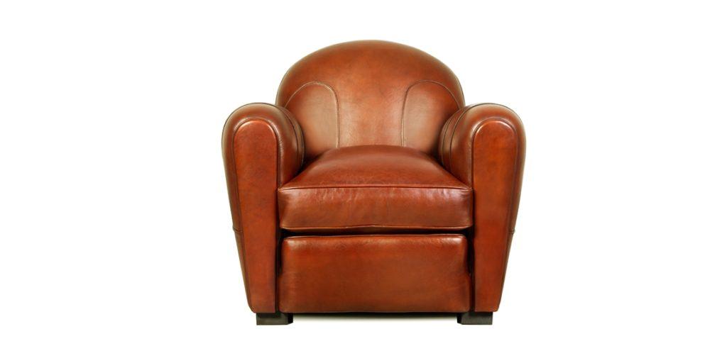Longchamp, fauteuil club, cuir cognac, face