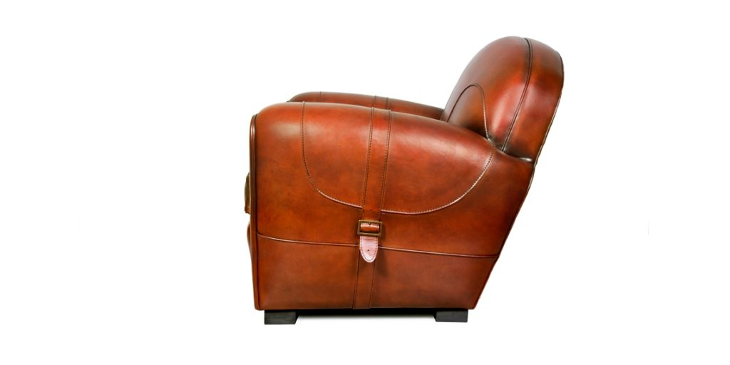 Longchamp, fauteuil club, cuir cognac, côté