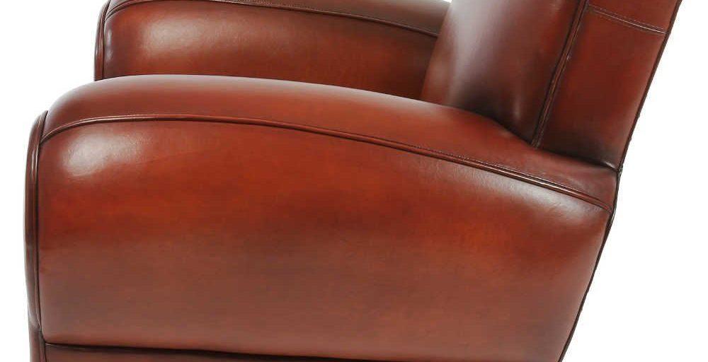 Moustache 1930, fauteuil, cuir cognac, côté