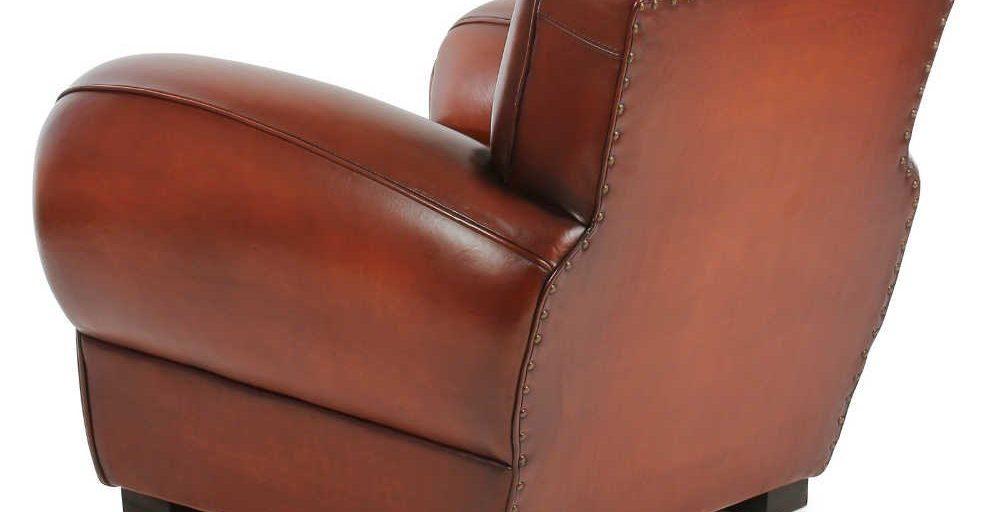 Moustache 1930, fauteuil, cuir cognac, dos