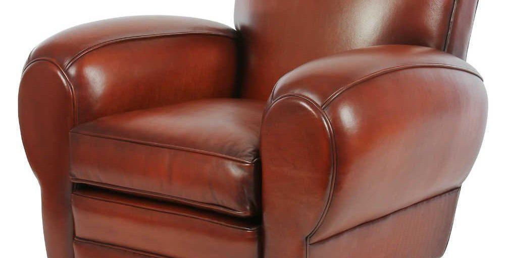 Moustache 1930, fauteuil, cuir cognac, face